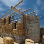 Dry stacked straw bale walls