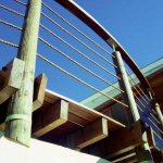 Pole and natural fibre rope balustrade